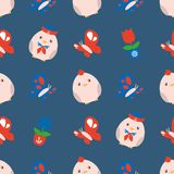 Seamless Eastern pattern with cute maritime chubby chicks, butterflies and spring flowers royalty free illustration