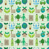 Seamless eco icon pattern. Drawing Royalty Free Stock Image