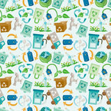 Seamless eco icon pattern Royalty Free Stock Photos
