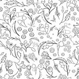 Seamless ecology pattern with leaves. Vector Royalty Free Stock Photography