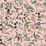 Seamless ecology pattern with leaves. Vector 3 Stock Photo