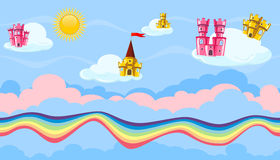 Seamless editable celestial cloudscape with colorful castles and rainbow for game design Stock Images