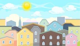 Seamless editable city roofs for platform game design Stock Photos