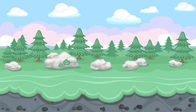 Seamless editable forest landscape for game design. Seamless editable horizontal forest background with fir trees and stones for video game Stock Photo