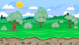 Seamless editable green rural landscape for game design Royalty Free Stock Photo
