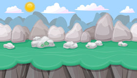 Seamless editable mountainous landscape with boulders for game design. Seamless editable mountainous horizontal background with round stones and cliffs for video Stock Image