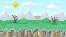 Seamless editable mountainous landscape with dry trees for game design Royalty Free Stock Image