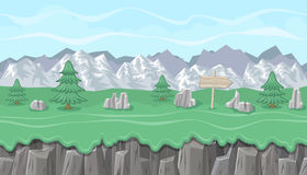 Seamless editable mountainous landscape with fir trees for game design. Seamless editable mountainous horizontal background with stones and fir trees for video Stock Photo