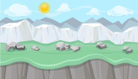 Seamless editable mountainous landscape with white cliffs for game design. Seamless editable mountainous horizontal background with stones and chalk hills for Stock Photos