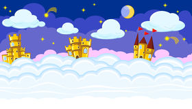 Seamless editable night cloudscape with golden castles for game design Royalty Free Stock Image
