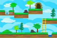 Seamless editable pixel landscape for platform game design Royalty Free Stock Images