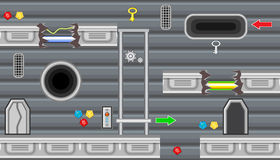 Seamless editable room with elevator and pointer for platform game design Stock Image