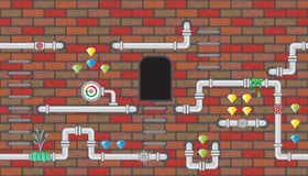 Seamless editable room with pipeline for platform game design Stock Images