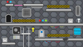 Seamless editable room with warning line for platform game design Royalty Free Stock Image