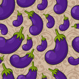 Seamless eggplant pattern Stock Images