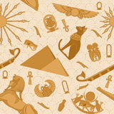 Seamless Egypt Pattern. With snakes, scarab, sun, ankh, Bastet, pyramids, sphinx, eye of Ra and boat Royalty Free Stock Photos