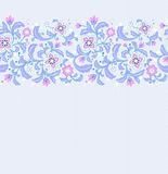 Seamless elegant floral border. Ornamental flowers and leaves on textured background Stock Photos