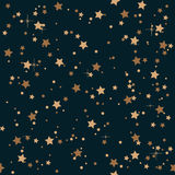Seamless elegant vintage night and golden stars pattern background. Royalty Free Stock Image