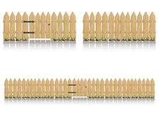 Seamless elements of wooden fence with gate Royalty Free Stock Photo