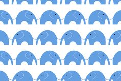 Seamless elephant graphic is blue color on white background.Blue elephant pattern seamless stock illustration