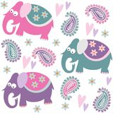 Seamless elephant kids pattern wallpaper background with flowers and heart,  illustration Stock Image