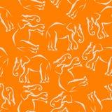 Seamless elephant orange background. Abstract. Textile stock illustration