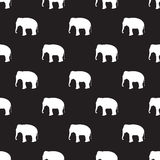 Seamless elephant pattern on black Royalty Free Stock Images