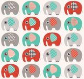 Seamless elephant pattern. Seamless elephant cartoon background with geometric pattern Vector Illustration