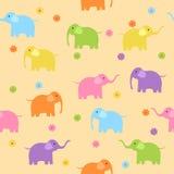 Seamless elephants. Seamless cute colorful elephants background Stock Photo