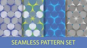 Seamless ellipse pattern set Stock Photos
