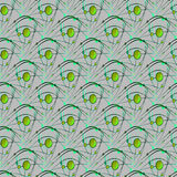 Seamless ellipses and circles pattern with wavy lines light green gray Royalty Free Stock Photography