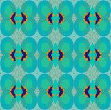 Seamless ellipses and diamond pattern turquoise blue orange. Abstract geometric seamless background. Ornate ellipses and diamond pattern turquoise with dark blue Stock Photography
