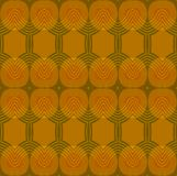 Seamless ellipses and hexagon pattern ocher brown. Abstract geometric plain retro background. Seamless ellipses and hexagon pattern in ocher and brown shades Stock Images