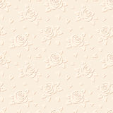 Seamless embossed background with flowers. Vector. Vector seamless beige embossed background with roses Royalty Free Stock Image
