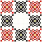 Seamless embroidered good like handmade cross-stit. Embroidered good like handmade cross-stitch folks Romanian pattern vector illustration