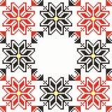 Seamless embroidered good like handmade cross-stit. Embroidered good like handmade cross-stitch folks Romanian pattern Vector Illustration