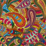 Seamless embroidered pattern. Ornament in the style of paisley. The patchwork print. Vector illustration royalty free illustration