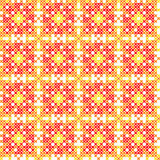 Seamless embroidered texture of abstract autumn patterns. Seamless embroidered texture of flat autumn patterns on canvas, abstract ornament with red, yellow Vector Illustration