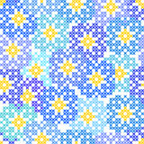 Seamless embroidered texture of abstract  blue flowers Stock Photos