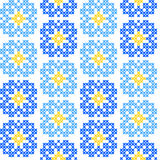 Seamless embroidered texture of abstract  blue flowers Stock Image