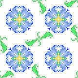 Seamless embroidered texture of abstract  flowers and leaves Royalty Free Stock Images