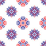 Seamless embroidered texture of abstract red and blue patterns. Seamless embroidered texture of flat red and blue patterns on canvas, abstract ornament, cross royalty free illustration