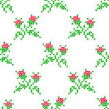 Seamless embroidered texture of flowers roses Stock Photos