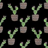 Seamless embroidery cross stitch cactuses pattern on black. Background Stock Photography