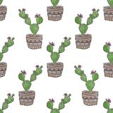 Seamless embroidery cross stitch cactuses pattern on white. Background Stock Photo
