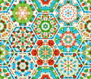 Seamless embroidery hexagons pattern. Stock Photos