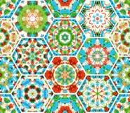 Seamless embroidery hexagons pattern. Stock Photos