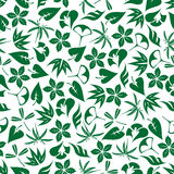 Seamless emerald green leaves and twigs pattern Royalty Free Stock Images