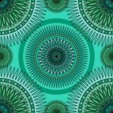 Seamless emerald pattern with oriental mandalas. Islam, Arabic, Asian motifs. Kaleidoscope print. Vintage lace mood Stock Image