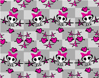 Seamless emo skulls pattern Stock Images